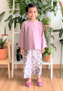 Haleena Printed Kids Kurong (Soft Purple)