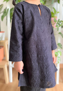 Kayla Cotton Lace Kids Kurong (Black)