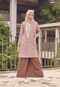 Ferra Printed Top (Cherry - White)