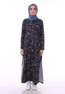 Doodle Split Long Top (Black)
