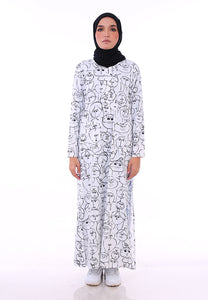 Doodle Split Long Top (White)