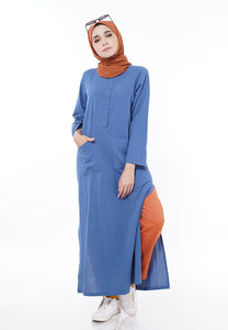 Linen Split Long Top (Earth Blue)
