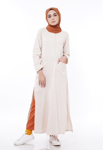 Linen Split Long Top (Nude Brown)