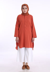 Mahdia Linen Top (Earth Orange)