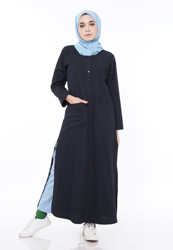 Linen Split Long Top (Black)