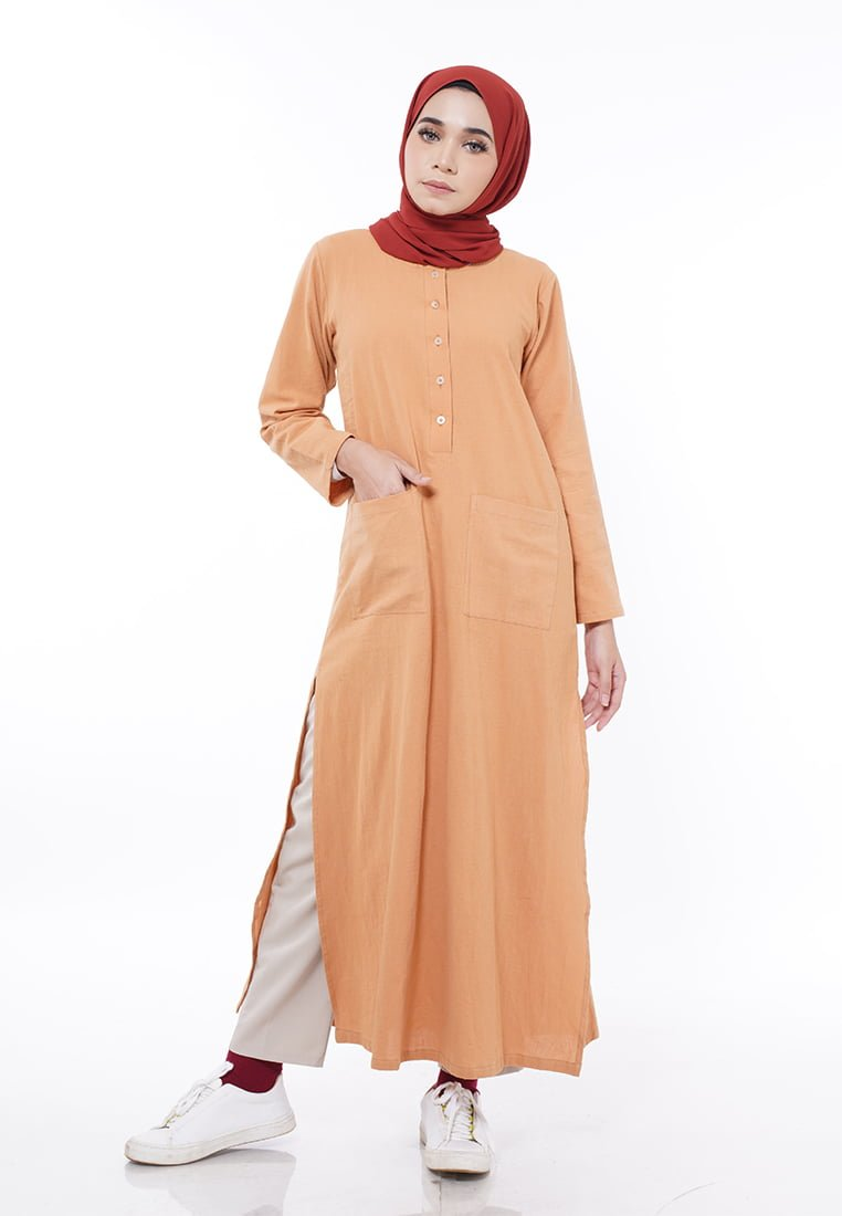 Linen Split Long Top (Earth Brown)