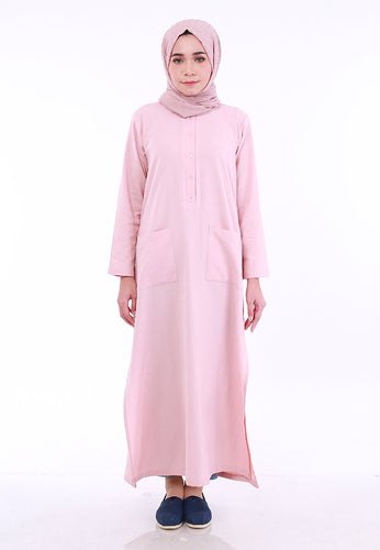 Linen Split Long Top (Dusty Pink)