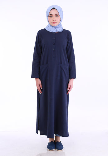 Linen Split Long Top (Dark Blue)