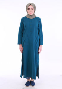 Linen Split Long Top (Turquoise)