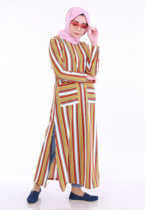 Stripe Split Long Top (Mustard)