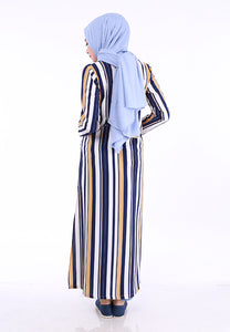 Stripe Split Long Top (Dark Blue)