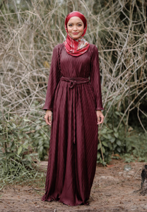Kaleela Crumple Dress (Dark Maroon)