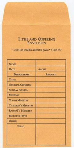 Tithe and Offering Envelope: Package of 100