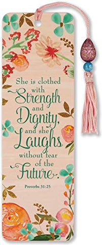 She is Clothed with Strength and Dignity Beaded Bookmark