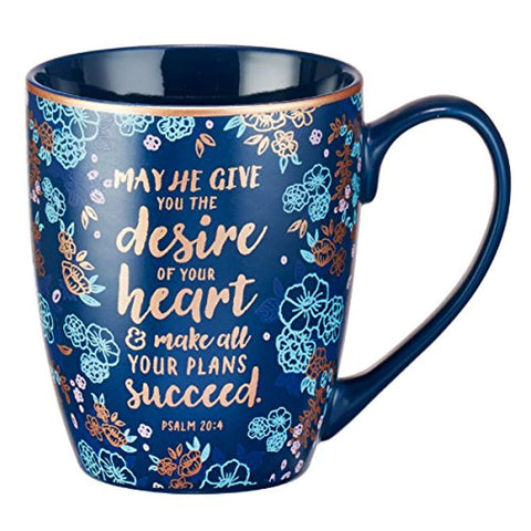 The Desire of Your Heart, Blue Coffee Mug, Psalm 20:4