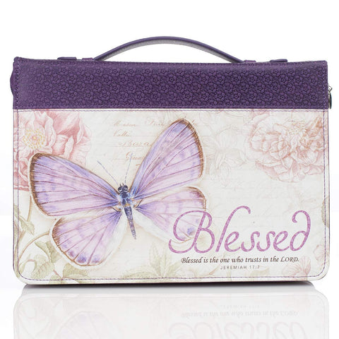 "Purple Botanic Butterfly Blessings ""Blessed"" Bible / Book Cover - Jeremiah 17:7"