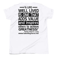 Youth Short Sleeve T-Shirt with Inspirational Quote on the Back