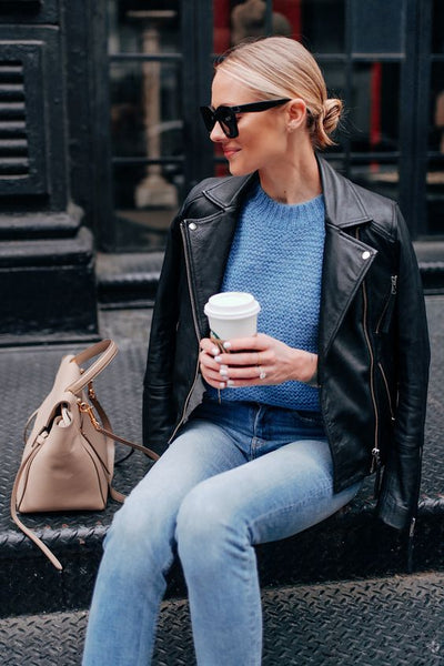 blue sweater outfit winter