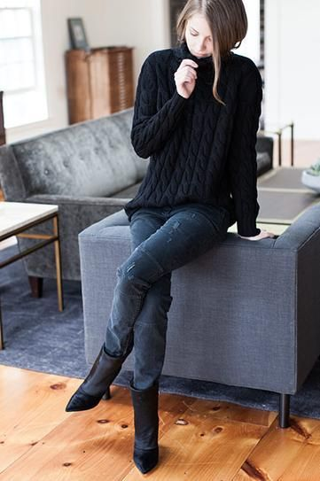 Cable-Knit Sweater black outfit