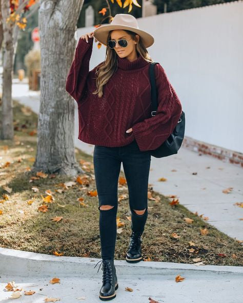 Cable-Knit Sweater burgundy outfit