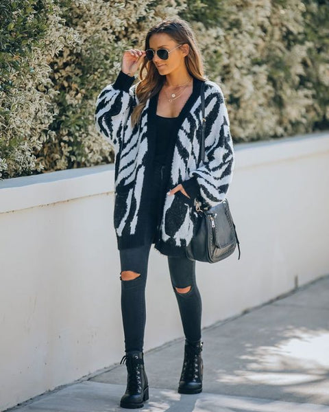 zebra cardigan outfit animal print