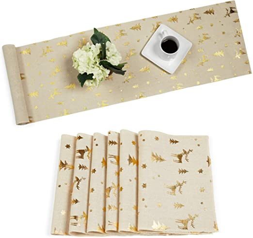 Juvale Placemats with Table Runner (Gold Foil, 6 Pieces)