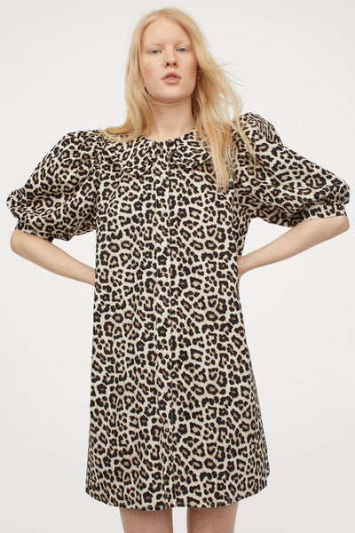 Animal Print Collar Dress with Puffy Sleeves