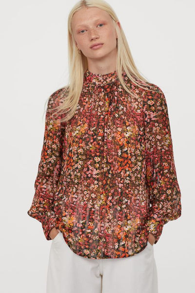 Autumn Print Chiffon Stand-up Collar Blouse