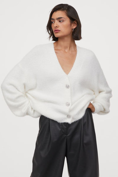 Boxy Fluffy Knit Rhinestone-button Cardigan