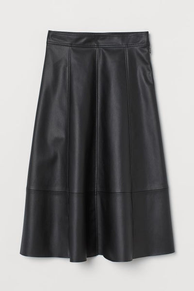 Calf-length Faux Leather Skirt