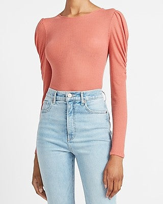 @Express-Ruched-Puff-Sleeve-Tee-Pink