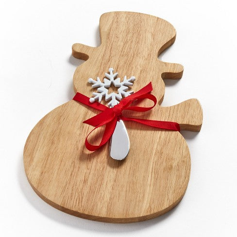 Lakeside Snowman Shaped Cheese and Charcuterie Board with Snowflake Spreader