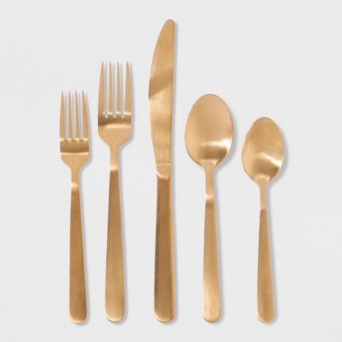 20pc Stainless Steel Silverware Set Gold - Threshold™
