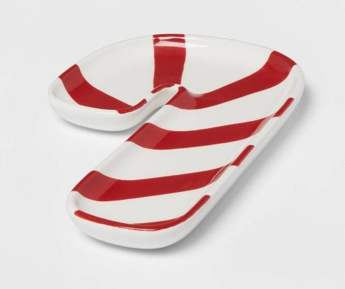 "14"" x 10"" Earthenware Candy Cane Serving Tray Red - Threshold™"