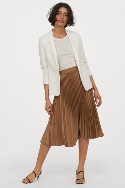 High Waist Bronce Pleated Midi Skirt