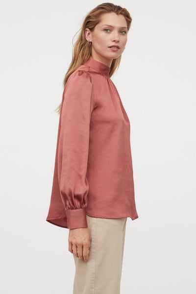 Long Puff Sleeves Satin Wide-cut Blouse