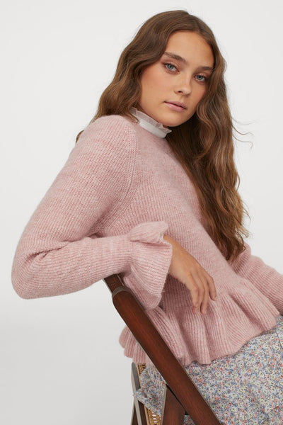 Pink Melange Flounced Knit Sweater