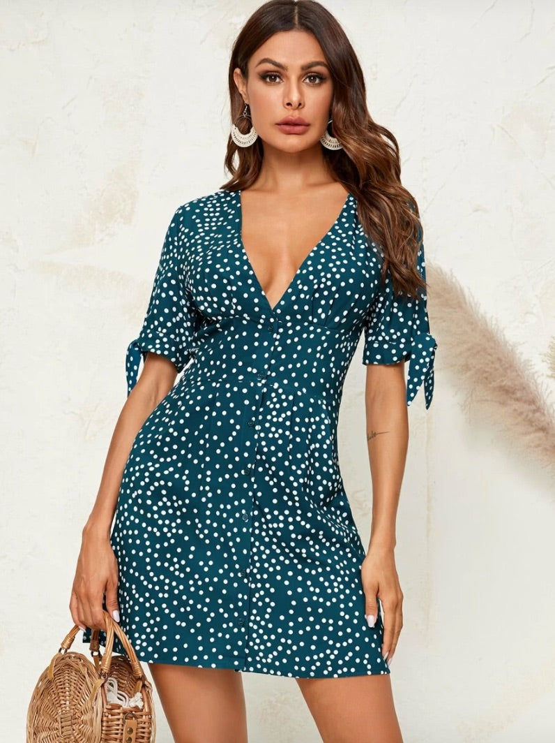 Polka Dot Print Plunging Neck Knotted Dress