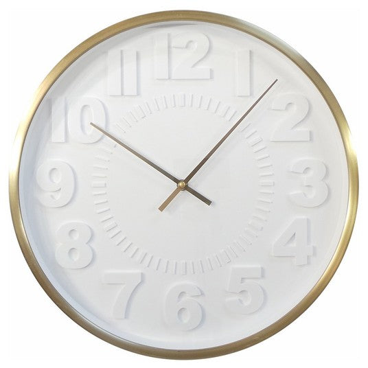Raised Number 16 Wall Clock White/Brass