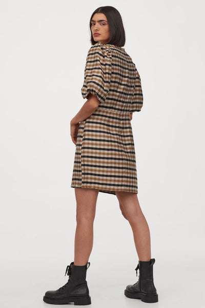 Short Balloon Sleeves Checked Print Dress