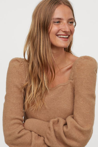 Soft Wool Puff-sleeved Sweater
