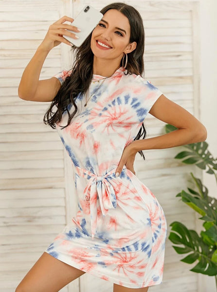 Tie Dye Belted Fitted Tee Dress