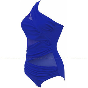Antibes | Drapead  Mesh One Shoulder One Piece Swimsuit