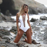 Barcelona | Lace Up White Sexy One Piece Swimsuit