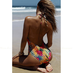 Bonifacio | Tropical Print Halter One Piece