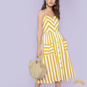 Button Up Pocket Striped Dress