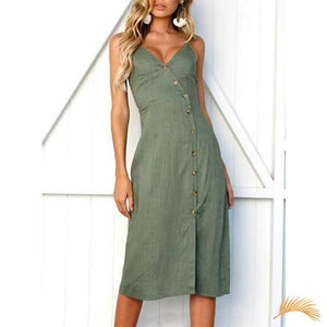 Button V-neck Dress