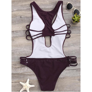 Cagliari |  Deep V Strappy Cut Outs One Piece Swimsuit