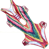 Costa Rica | Tribal Print Strappy Cut Outs One Piece Swimsuit