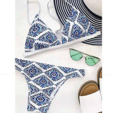 Faraga | Ethnic Blue and White Boho Triangle Bikini